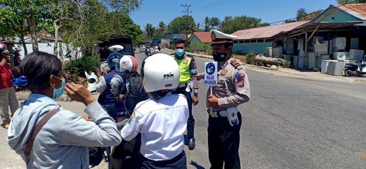 Ops Patuh Ranakah-2021, Polres TTS Gelar Sosialisasi Tertib Berlalulintas Dengan Tetap Patuhi Prokes